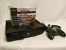 Original Xbox Console Bundle 10 Games Lot Controller AV & Power Cable TESTED!