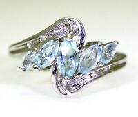 Marquise Topaz & Diamond 9ct White Gold ring size L ~ 5 3/4
