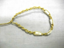 NEW LIGHT TAN NATURAL SPIRAL MACRAME w PUKA SHELL BEADS TIE ON BRACELET / ANKLET