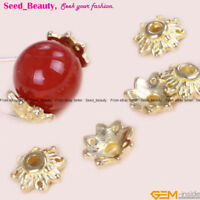 20 Pcs Yellow Gold Plated Tibetan Silver Spacer Flower Bead Caps Craft Findings