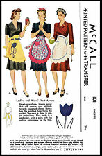 Fabric Sewing PATTERN McCall # 1011 SCALLOPED Short Tulip APRON Vintage 40's 1sz