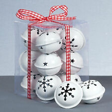 Premier Decoración de Navidad de 12 Pack Copo de Nieve 40 mm Jingle Bell Baubles-Blanco