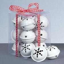 PREMIER Décoration de Noël Lot de 12 Flocon de neige 40mm grelot boules - Blanc