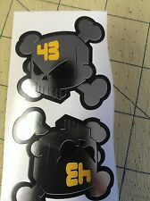 2 ken Block 50 x 50mm  Chrome Printed Skull Stickers Monster Rockstar pegatinas