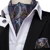 USA Gray Paisley Mens Silk Ascot Cravat Tie Set Handkerchief Cufflinks Wedding