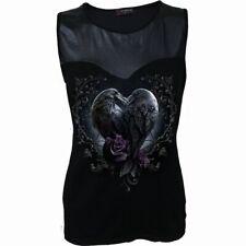 Spiral Direct RAVEN HEART Wet Look Top Goth/Ravens/Top/Sleeveless/Tee/Flower/Tee