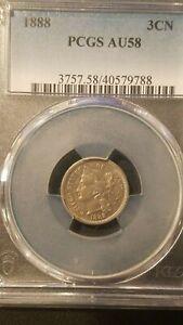 1888 Three Cent Nickel * PCGS AU58 * Mintage 36,500