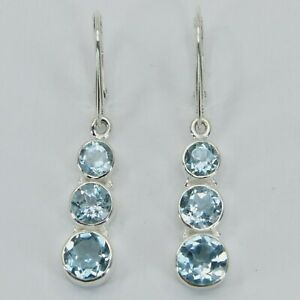 Genuine, Natural BLUE TOPAZ Triple Earrings 925 STERLING SILVER Leverback #17