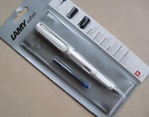 LAMY safari 019 WHITE Cartridge Fountain Ink Pen - Medium Nib - Blue Refill Incl