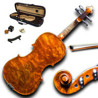 Mastero Sound 3/4 Size New VN431 Bird Eye Maple Violin Kit w Case Bow Rosin Mute