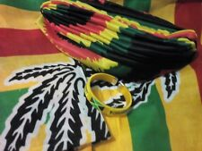 RASTA JAMAICAN COLOURS HEAD WRAP/TURBAN/BANDANA/BRACELET GIFT SET