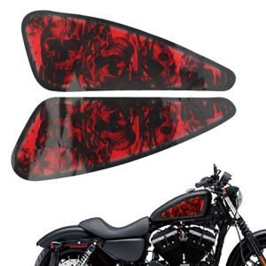 2Pcs Red Motorcycle 3D Decals Fuel Gas Tank Stickers trim for Harley XL883 1200