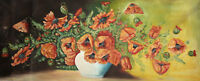 Antique still life poppy flowers oil painting signed