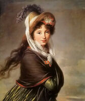 Oil painting Vigee-Lebrun - portrait of a young woman hand painted in oil art