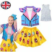 Girls Fancy Dress Jojo Siwa Cosplay Vest+Waistcoat+Skirt Dress Set Party Costume
