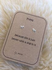 Sterling Silver Personalised Earring Gift. For Dog Lover. Saccos