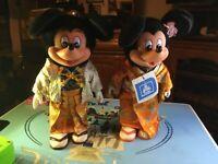 Vintage Young Epoch Tokyo Disneyland Mickey & Minnie Mouse Kimono Dolls 1982