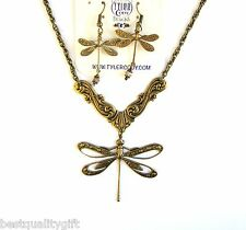 2 PC SET BRASS GOLD TONE DRAGON FLY PENDANT NECKLACE+SWAROVSKI CRYSTAL EARRINGS