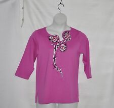 Bob Mackie Embroidered Floral Blouse w/ Asymmetrical Neckline Size S Orchid