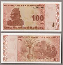Zimbabwe 100 Dollars  2009 UNC  FIOR DI STAMPA BANKNOTE BANCONOTA PREZZO SUPER
