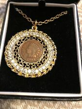 Vintage Indian Head Penny 1900 Medallian Necklace with crystal accents!!!!!