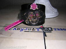 "Betsey Johnson B09561-B01 ""Creep Show"" Skull Leather Cuff Bracelet  LAST ONE"