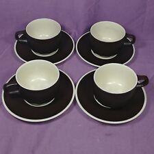 bf Set of 4 - MIKASA DE800 INDIAN FEAST Bark Brown Cup & Dish 70s Coffee Mug
