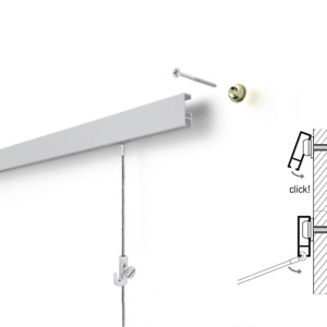 Picture Hanging System Rail Click Art Hanging System 2m Complete Set
