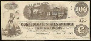 1862 1863 $100 CONFEDERATE STATES CURRENCY CIVIL WAR NOTE OLD PAPER MONEY T40