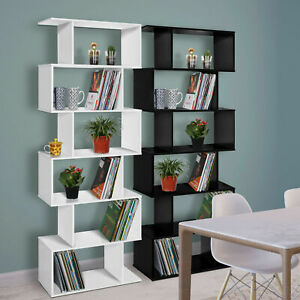 Wood Bookcase Bookshelf S Shape 6 Tier Free Standing Display Unit