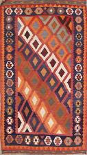 Vintage Flat-Weave Geometric Tribal Kilim Abadeh Oriental Area Rug 4x7
