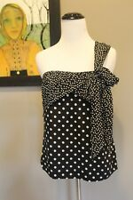 NEW J Crew Silk One Shoulder Bow Top in Polka Dot Black Ivory Sz 8 Medium G7678
