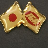 Vtg IGA Grocery Store Grocer Japan Japanese Double Flag Red Epoxy Lapel Tack Pin