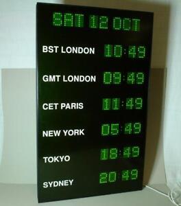Wharton Vertical 6 Time Multi Zone Digital Green LED Pulse Wall Clock / Calendar
