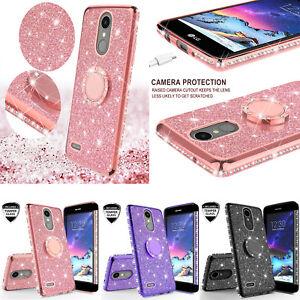 LG K20v,LG K10 2017,LG K20 Plus, LG Harmony Glitter Bling Ring Kickstand Case
