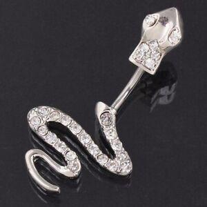 Snake Design Belly Bar Piercing Crystal Navel Ring 316L Surgical Steel UK Seller