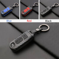 Carbon Fiber Shell+Silicone Cover Remote Key Holder Fob Case For Mazda6 Mazda 6
