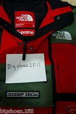 Supreme X The North Face Steep Tech Hooded Jacket Size Large L Olive Red SS16