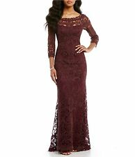 NEW TADASHI SHOJI Purple wine Illusion Embroidered Corded Lace Column Gown sz 14