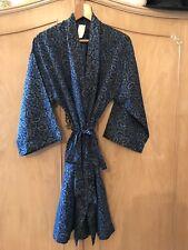 Mens dressing gown size medium vintage 1960s Blue paisley print smoking jacket