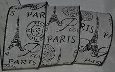 "Wired Ribbon~Woven Ivory~Paris Eiffel Tower~2.5""~Black~Travel~France~Wreath~Bow"