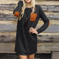 Womens Lay Long Sleeve Bodycon Dress Short Mini Loose Sweatshirt Shirt Dress Lot