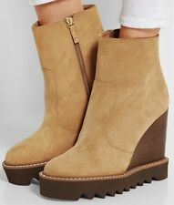 STELLA McCARTNEY $860 high wedge heel platform sole tan Leana ankle boots 40 NEW