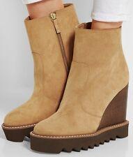 STELLA McCARTNEY $860 high wedge heel platform sole tan Leana ankle boots 40 NEW
