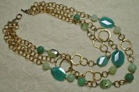 VTG MULTI STRAND FACETED GREEN STONE BEADS GOLD TONE CHAIN STATEMENT NECKLACE