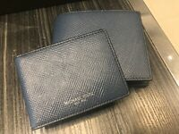 Michael Kors Harrison Passcase ID Billfold Wallet Saffiano Leather Vintage Blue