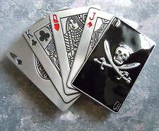 Men's Jolly Roger Skull Playing Card Belt Buckle Black Silver Royal Flush