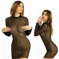 Sexy-Women Bodycon Mesh Sheer See Through Beach Dress Bikini Swimsuit Clubwear