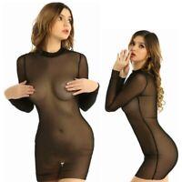 Sexy-Women Bodycon Beach Dress See Through Mesh Sheer Cover Up Lingerie Swimwear