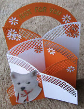 "HOME Crafted Reticolo Effetto Stand Up ""JUST FOR YOU"" CARD-Taglia 7""x 5"""